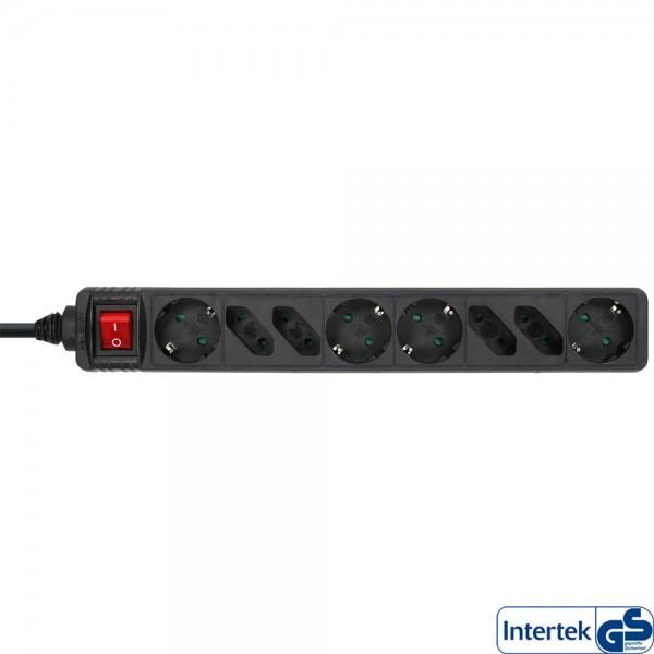 InLine® Steckdosenleiste, 8-fach, 4x Schutzkontakt + 4x Euro, mit Schalter, 1,5m, schwarz